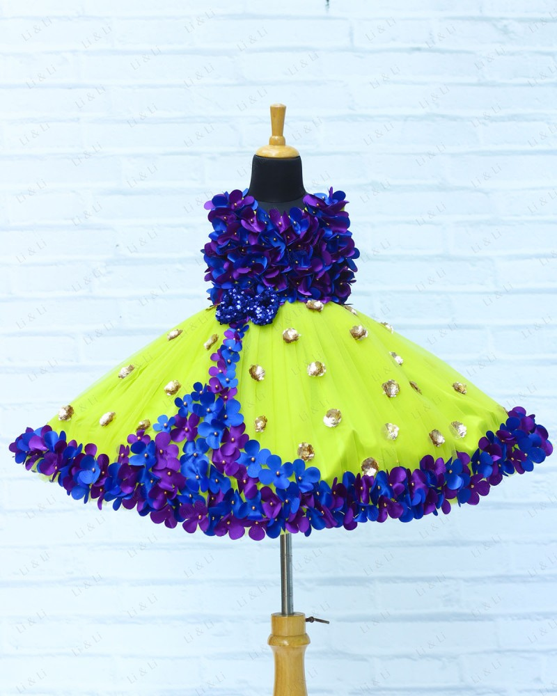 Lime Green Pleated Gown With Rich Blue & Purple Flower Work