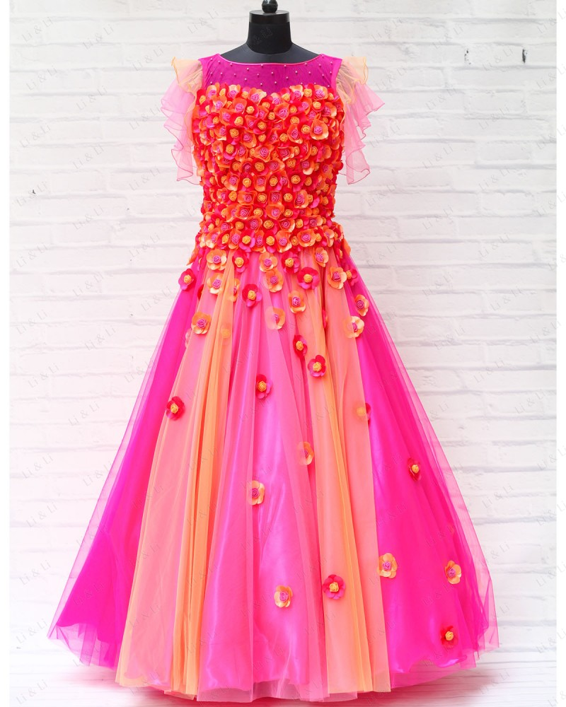 Pink and Peach Gown with Scattered Flower Embellishment