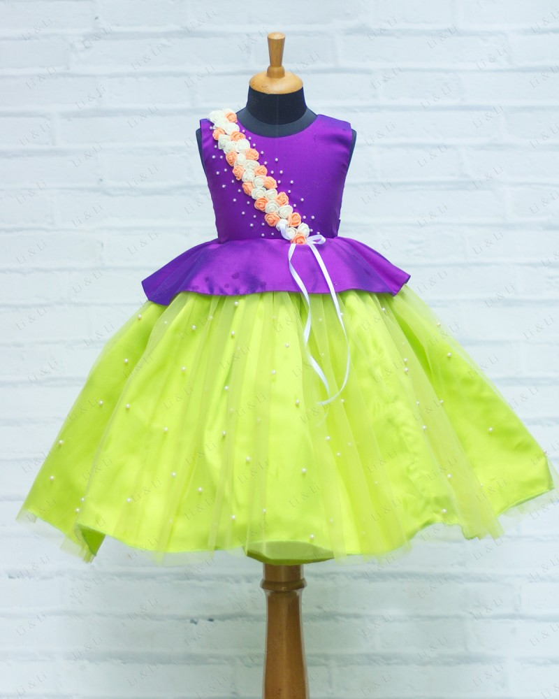 Peplum  Violet and Lime Green Flower Frock
