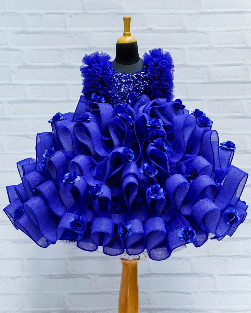 Blue Sequence Fluffy Layered Gown