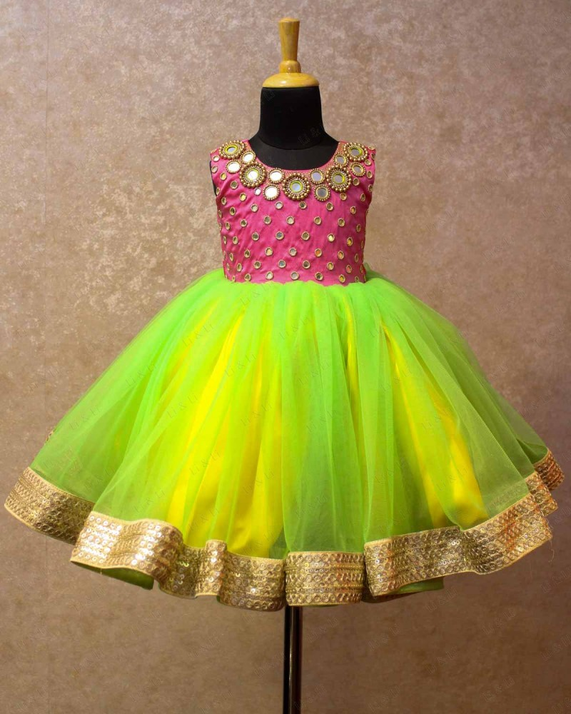 Mirror Work Pink and Greenish Yellow Gown