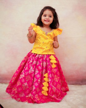 Yellow and Pink Rich Diamond Brocade Skirt and Top
