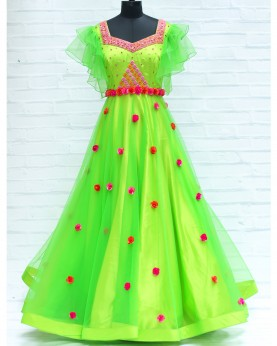 Bright Parrot Green Gown With Heavy Beaded Yoke