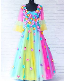 Light Multi Candy Shade Gown With Scattered Matching Flower Embellishment