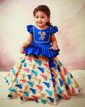 Royal Blue Peplum Top and Boat Printed Umbrella Skirt