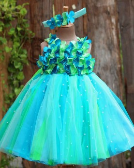 Sky Blue and  Green Strips Petal Frock