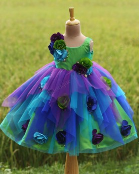 Asymmetrical Multi Peacock Flower Frock