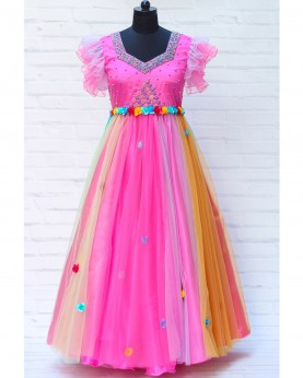 Multi Color Gown with Heavy Beaded Pink Yoke