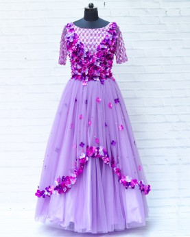 Lavender And Purple Petal Rich Hand Worked Gown