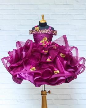 Deep Plum Color Cold Shoulder Swirled Gown with Antique Gold Rich Handwork