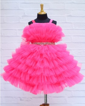 Bright Pink Frilled Frock with Beaded Waist Belt and Bow