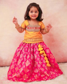 Yellow and Pink Rich Diamond Brocade Skirt and Heavy Stone Work Top