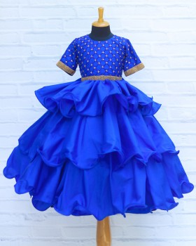 Royal Blue Layered Umbrella Gown with Checked Design Hand Work