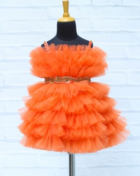 Coral Orange Frilled Frock with Beaded Waist Belt