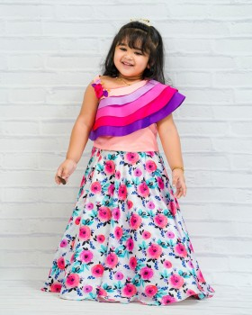Rainbow Model Layered One Shoulder Top with Floral Printed Skirt