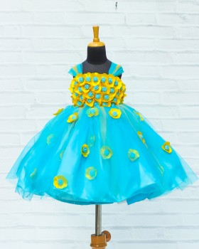 Yellow and Sky Blue Flower Frock With Multi Stripes