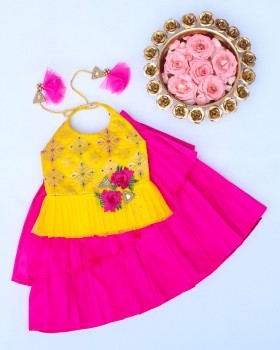Yellow Brocade Halter Neck Top with Pink Pleated Skirt