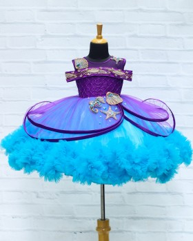 Purple & Blue Hand-Crafted Sea Mermaid Theme Gown