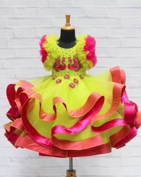 Light Green and Magenta Peacock Twirled Gown