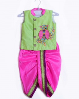 Pale Green Sleeveless Jacket And Pink Dhoti With Owl Embroidery