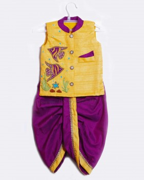 Pale Yellow Sleeveless Jacket And Purple Dhoti With Fish Embroidery