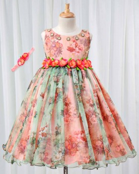 Peach and Green Flower Printed Gown