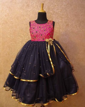 Dark Navy Blue and Pink Rich Hand Work gown