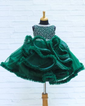 Dark Green Netted Frilled Fluffy Gown with White Crystal and Bead Work