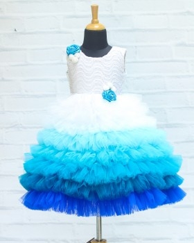 White and Blue Color Gradient Frill Gown