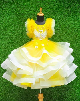 Swan Theme Yellow & White Color Gradient Swirled Gown