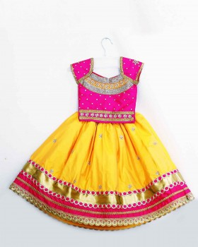 Heavy Hand Work Yellow And Pink Traditional Skirt And Top