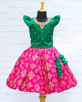 Green and Pink Rich Diamond Brocade Skirt and Top