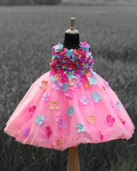 Baby Pink Frock with Multi Color Petals