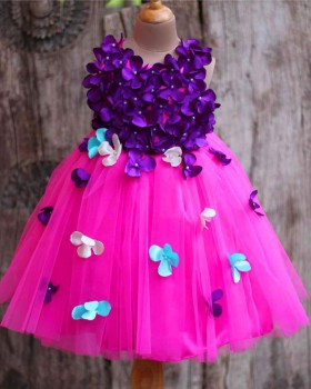 Pink and Purple Flower Petals frock