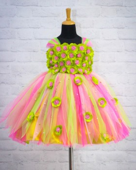 Lime Green and Pink Flower Frock With Multi Stripes