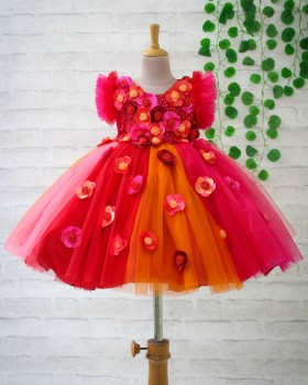 Warm Red And Pink Multi Flower Frock