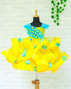 Yellow and Sky Blue Twirled Flower Frock With Handcrafted Shoulder