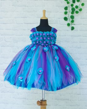 Teal Blue and Purple, Lavender Strips Flower Frock