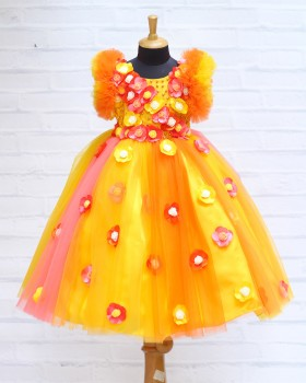 Orange And Yellow Multi Flower Frock