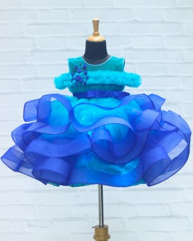 Royal Blue and Sky Blue Ombre Shaded Twirl Gown