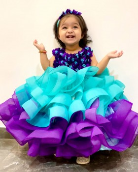 Aqua Blue And Purple Gown with Fluffy Layered Netted Bottom And Hand-Crafted Purple Flowers