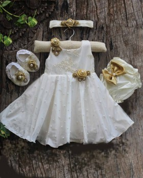 Ivory And Golden Combo  Pearl Detailed Baptism Set.