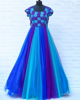 Rich Hand Work Peacock Shade Gown