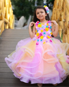 Multicolour Twirled Gown with Handcrafted Flowers
