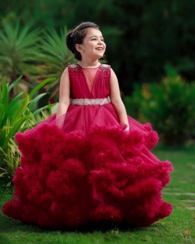 Classic Wine Red Cloudy Frilled Gown with Handcrafted Beaded Waistline